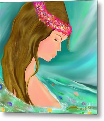 Metal Print featuring the drawing Solitude by Lori  Lovetere