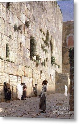 Solomon's Wall, Jerusalem  The Wailing Wall Metal Print by Jean Leon Gerome