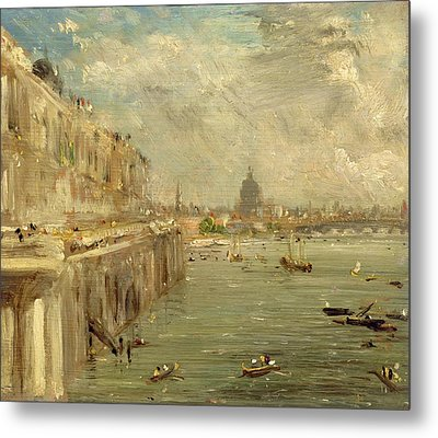 Somerset House Terrace From Waterloo Bridge Metal Print by John Constable