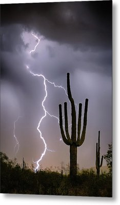 Sonoran Desert Monsoon Storming Metal Print