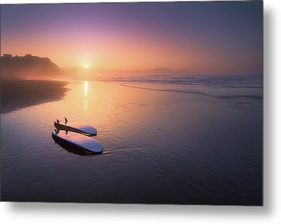 Sopelana Beach With Surfboards On The Shore Metal Print