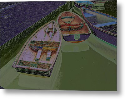 Metal Print featuring the photograph Sorrento Harbor Boats With Sabattier by Bill Barber