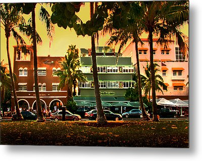 South Beach Ocean Drive Metal Print