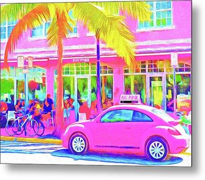 South Beach Pink Metal Print by Dennis Cox WorldViews