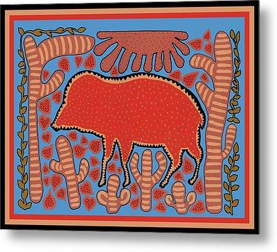 Metal Print featuring the digital art Southwest Desert Wart Hog by Vagabond Folk Art - Virginia Vivier