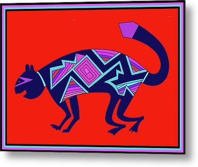 Metal Print featuring the digital art Southwest Mimbres Feline by Vagabond Folk Art - Virginia Vivier