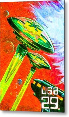 Space Fantasy Flying Saucers Metal Print