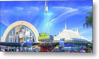 Space Mountain Entrance Panorama Metal Print