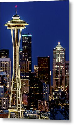 Space Needle And Skyline At Dusk Metal Print