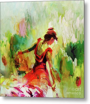 Metal Print featuring the painting Spanish Female Art 56y by Gull G