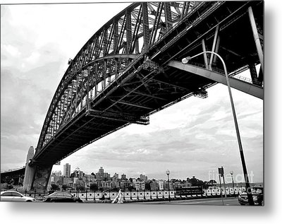 Spanning Sydney Harbour - Black And White Metal Print by Kaye Menner