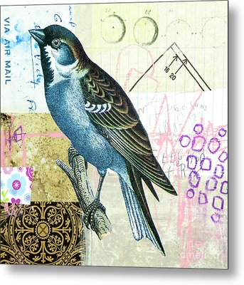 Metal Print featuring the mixed media Sparrow by Elena Nosyreva