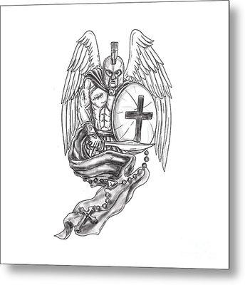 Spartan Warrior Angel Shield Rosary Tattoo Metal Print by Aloysius Patrimonio