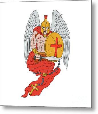 Spartan Warrior Angel Sword Rosary Drawing Metal Print by Aloysius Patrimonio