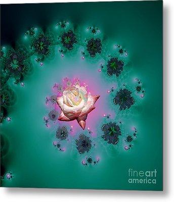 Spiral To A Rose Fractal 140 Metal Print by Rose Santuci-Sofranko
