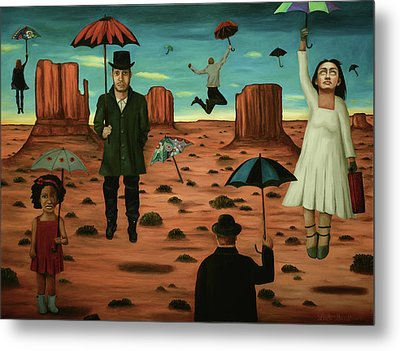 Metal Print featuring the painting Spirits Of The Flying Umbrellas 3  by Leah Saulnier The Painting Maniac