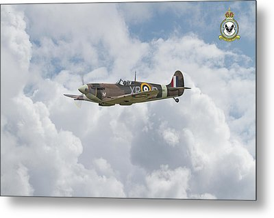 Metal Print featuring the digital art  Spitfire - Us Eagle Squadron by Pat Speirs