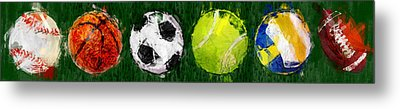 Sports Balls Abstract Metal Print