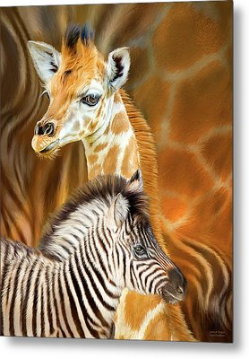 Metal Print featuring the mixed media Spots And Stripes - Giraffe And Zebra by Carol Cavalaris