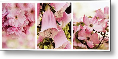 Spring Assemblage Triptych Metal Print