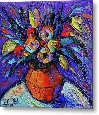 Spring Bouquet In Orange Vase - Impasto Palette Knife Oil Painting Metal Print