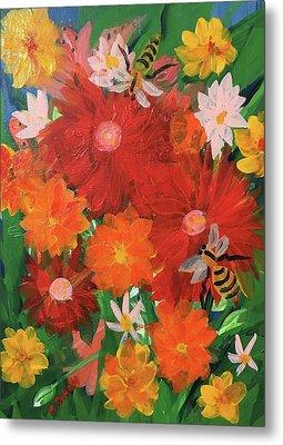 Spring Bumble Bees Metal Print