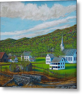 Spring Church Metal Print by Vermont Artworks