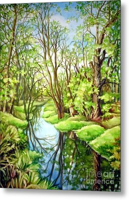 Metal Print featuring the painting Spring Creek by Inese Poga