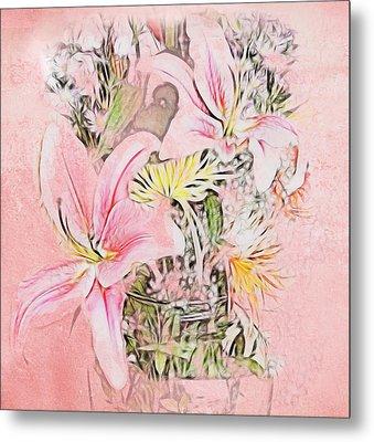 Spring Fowers With Vase Metal Print by Kathleen Stephens