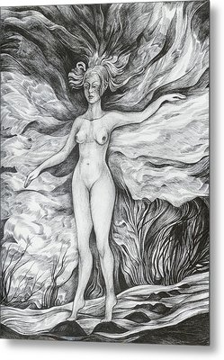 Metal Print featuring the drawing Spring II by Anna  Duyunova