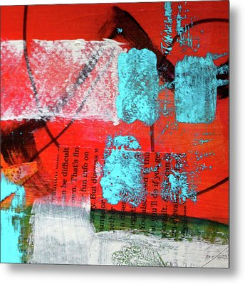 Metal Print featuring the mixed media Square Collage No. 10 by Nancy Merkle