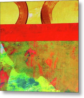 Metal Print featuring the mixed media Square Collage No. 11 by Nancy Merkle