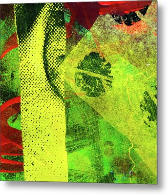 Metal Print featuring the mixed media Square Collage No. 8 by Nancy Merkle