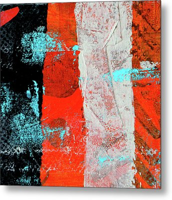 Metal Print featuring the mixed media Square Collage No. 9 by Nancy Merkle