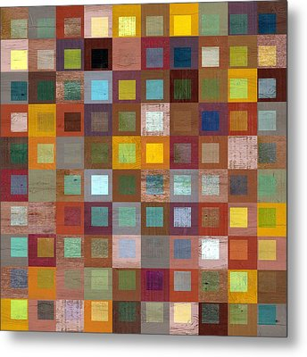 Squares In Squares Four Metal Print by Michelle Calkins