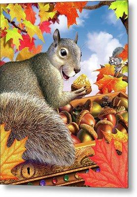 Squirrel Treasure Metal Print