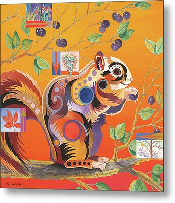 Squirrelling Away Metal Print