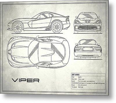 Srt Viper Blueprint Metal Print
