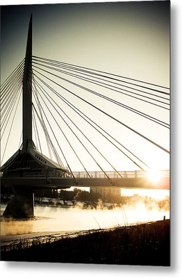 St. Boniface Bridge At Winter Sunrise Metal Print by Michael Knight
