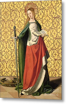 St. Catherine Of Alexandria Metal Print by Josse Lieferinxe