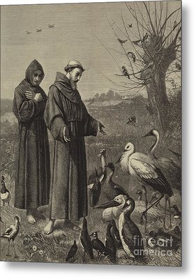St Francis Preaches To The Birds  Metal Print by Henry Stacey Marks