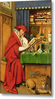 St. Jerome In His Study  Metal Print by Jan van Eyck