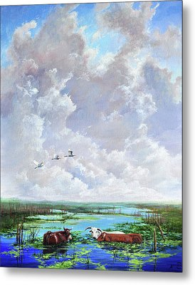 Metal Print featuring the painting St. John's Cows by AnnaJo Vahle