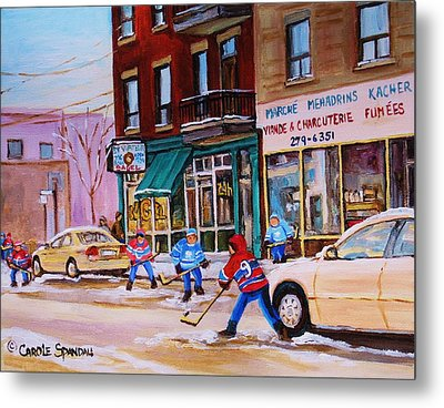 Metal Print featuring the painting St. Viateur Bagel With Boys Playing Hockey by Carole Spandau