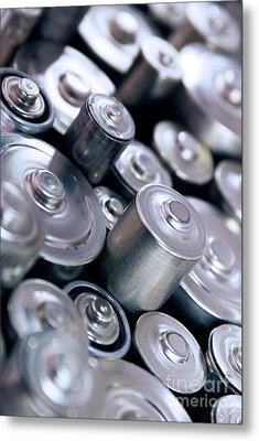 Stack Of Batteries Metal Print by Carlos Caetano