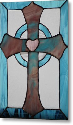 Stained Glass Cross Metal Print by Ralph Hecht