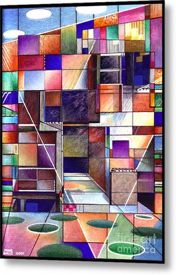 Stained Glass Factory Metal Print