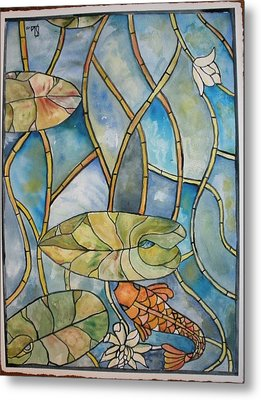 Stained Glass Koi Metal Print