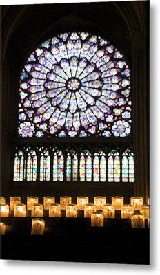 Stained Glass Window Of Notre Dame De Paris. France Metal Print by Bernard Jaubert