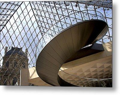 Stairs In Louvre Museum. Paris.  Metal Print by Bernard Jaubert